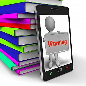 Warning-phone-shows-dangerous-and-be-careful