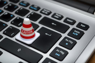 Caution cone on keyboard