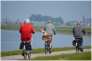 Elderly on bikes