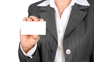 Person with blank business card